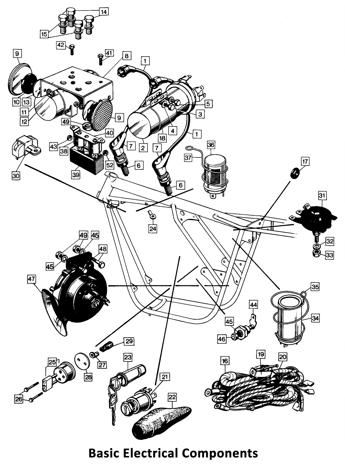1973-74 Norton Commando 750 & 850 Basic Electrical Components