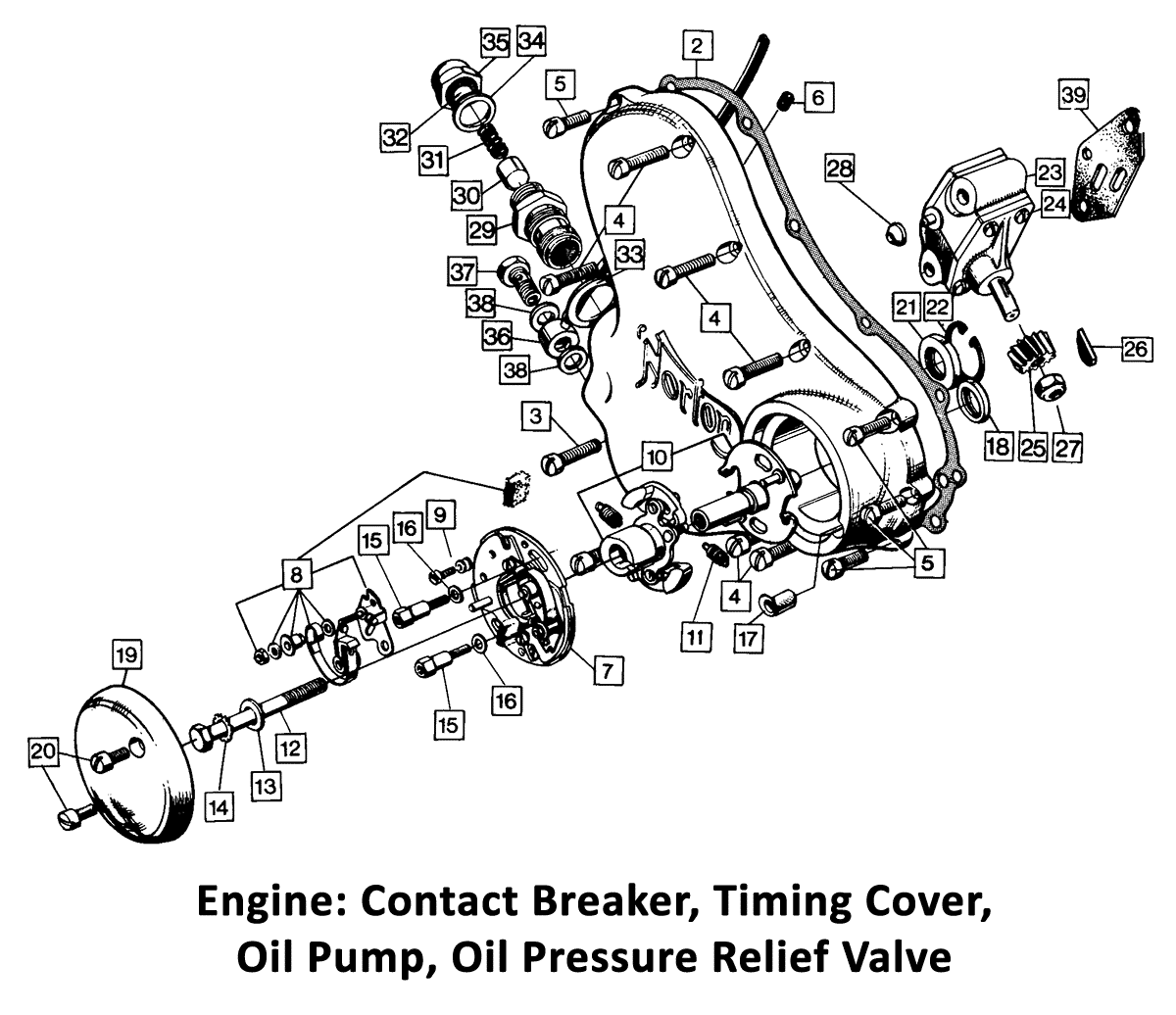 1973-74 Norton Commando 750 & 850 Engine: Contact Breaker, Timing Cover, Oil Pump, Oil Pressure Relief Valve