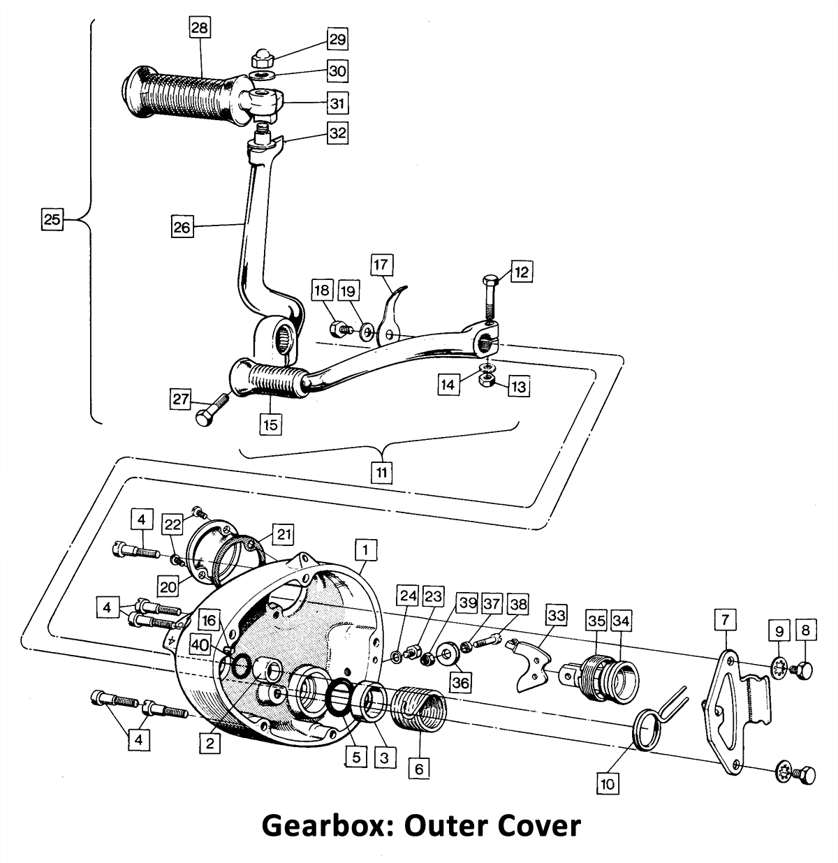1973-74 Norton Commando 750 & 850 Gearbox: Outer Cover