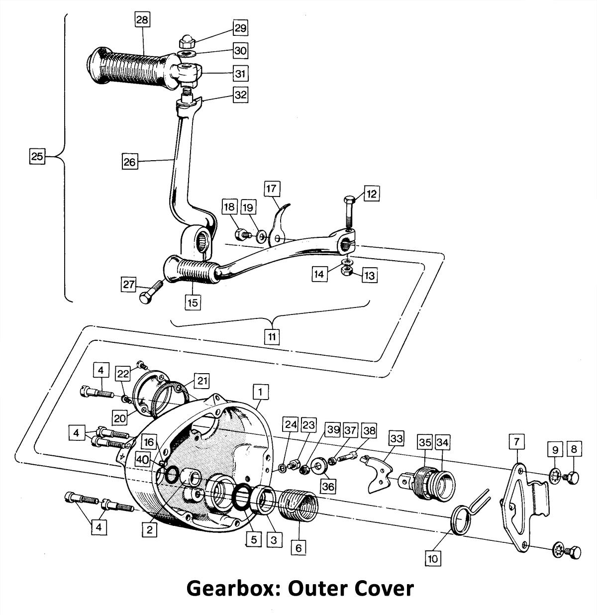 1973-74 Norton Commando 750 & 850 Gearbox: Outer Cover