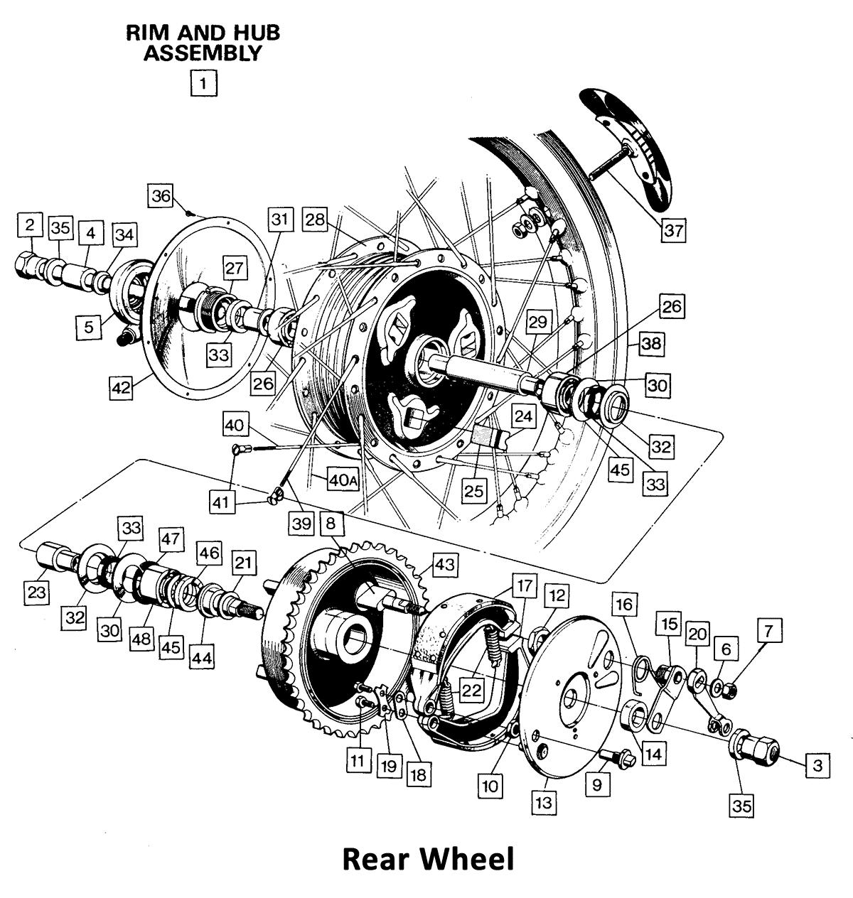 1971 Norton Commando 750 Rear Wheel, classic motorbike spares, classic motorbike spare parts, classic motorcycle spares, classic motorcycle spare parts