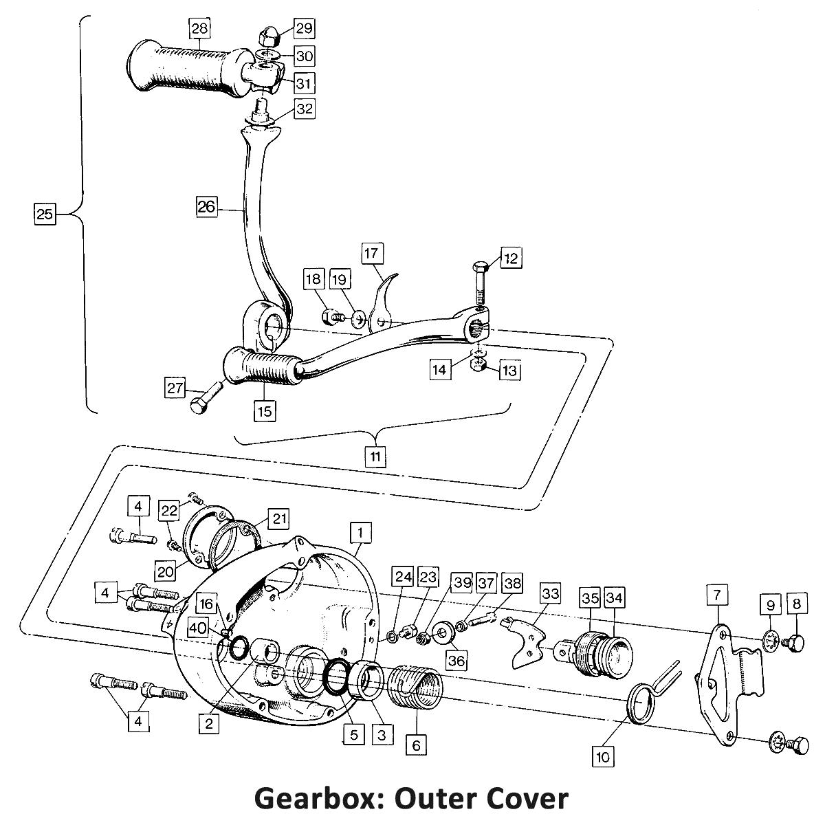 1972 Norton Commando 750 Gearbox: Outer Cover, classic motorbike spares, classic motorbike spare parts, classic motorcycle spares, classic motorcycle spare parts