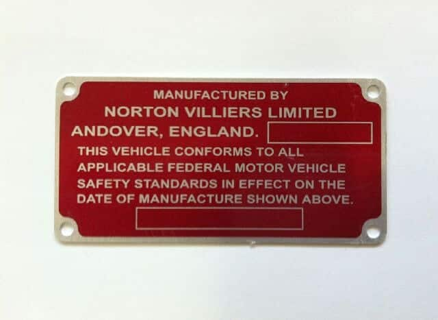 Norton Commando certification plate (to 1971) - Classic Bike Spares