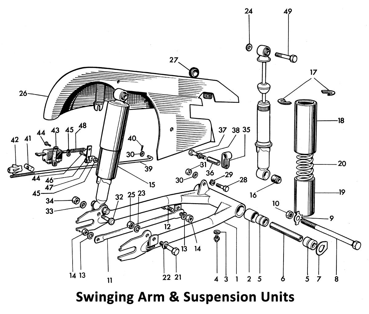 1964 Triumph 650 Twins T120, TR6, 6T Swinging Arm & Suspension Units