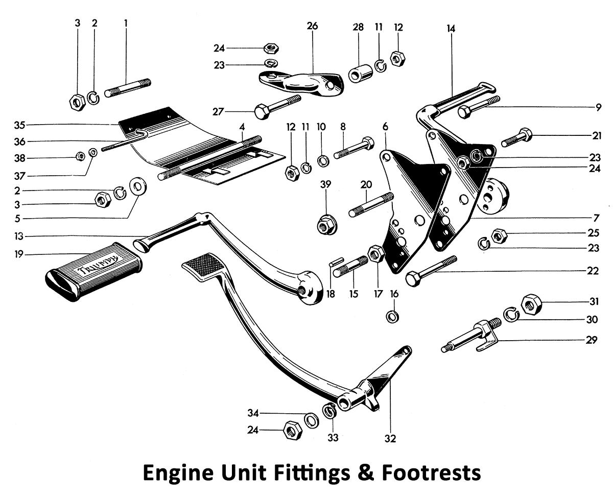 1964 Triumph 650 Twins T120, TR6, 6T Engine Unit Fittings & Footrests
