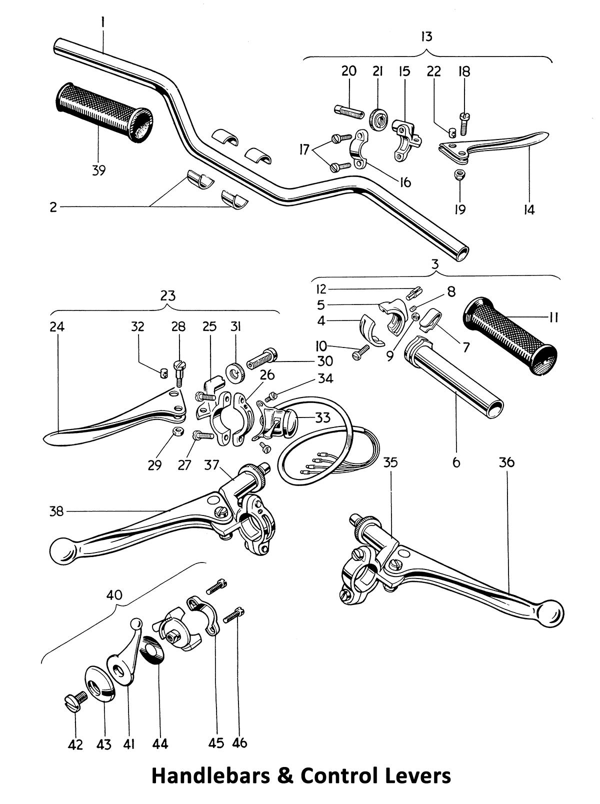 1964 Triumph 650 Twins T120, TR6, 6T handlebars & control levers
