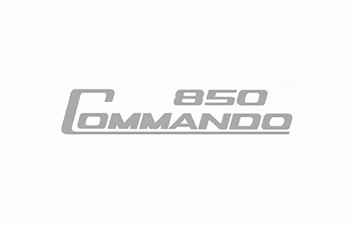 """""""850 Commando"""" side cover decal, silver - Classic Bike Spares"""