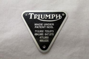 Triumph Thunderbird patent plate - Classic Bike Spares