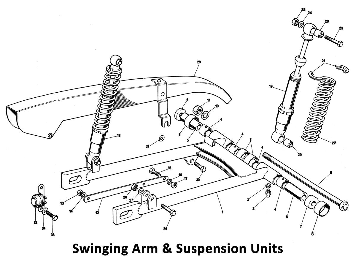 1973 Triumph 750 Twins Swinging Arm & Suspension Units - Classic Bike Spares