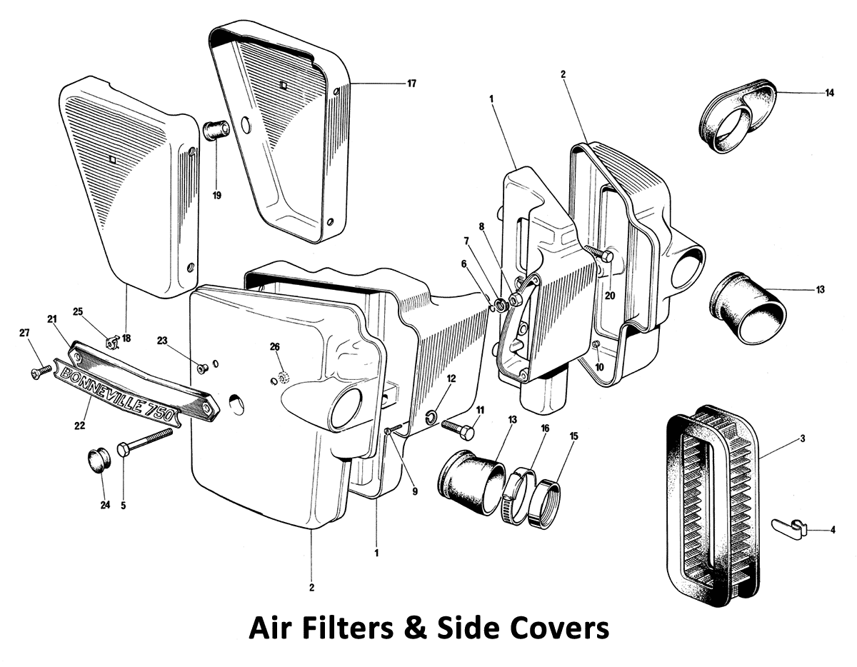 1973 Triumph 750 Twins Air Filter & Side Covers - Classic Bike Spares