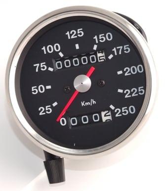Speedometer Head KPH, Black Face - Classic Bike Spares