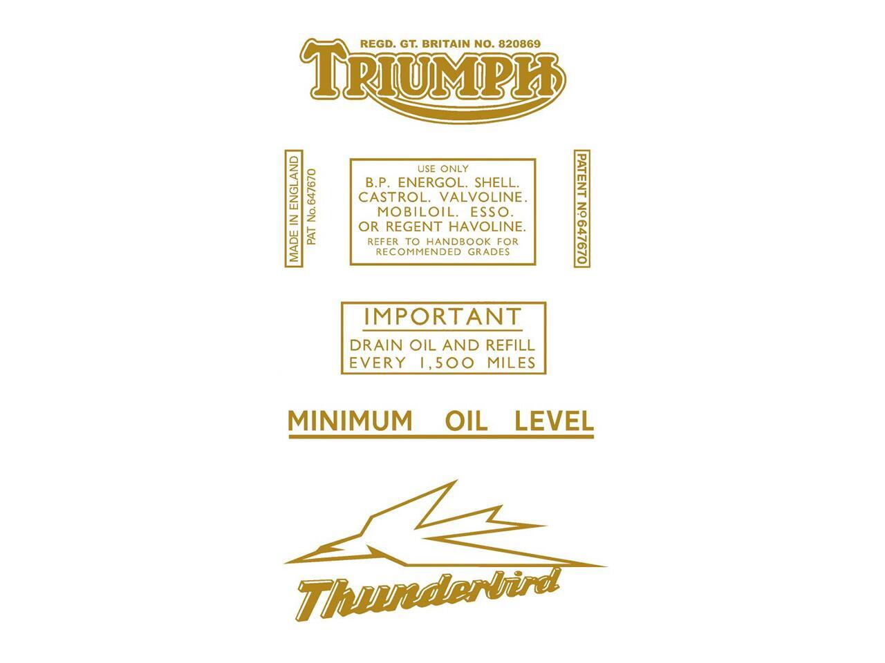 6517 Triumph Thunderbird transfer set - Classic Bike Spares