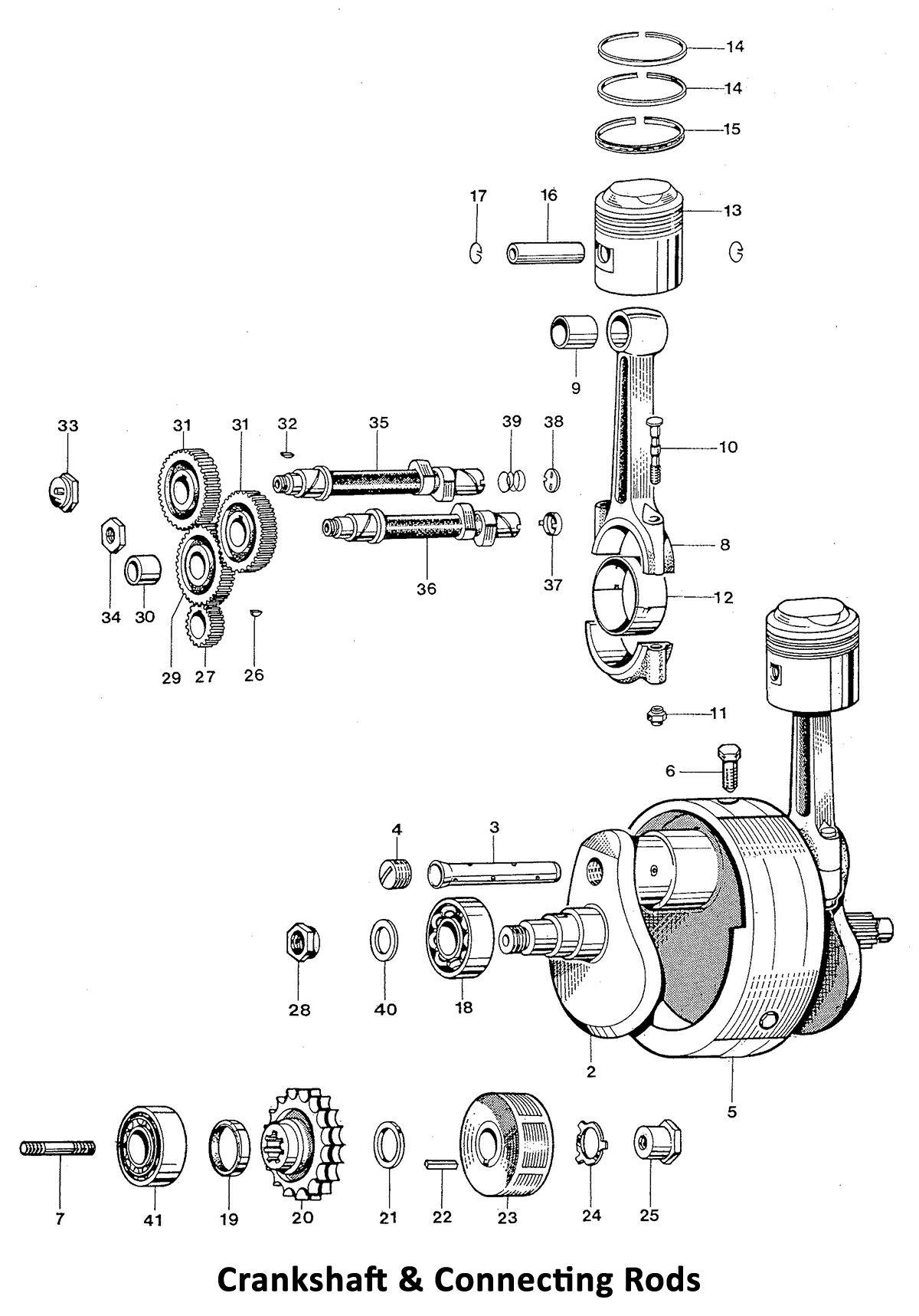 Triumph 650 Twins 1969 Crankshaft and Connecting Rods - Classic Bike Spares