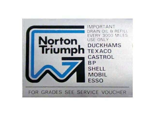 Norton Triumph oil instructions transfer - Classic Bike Spares